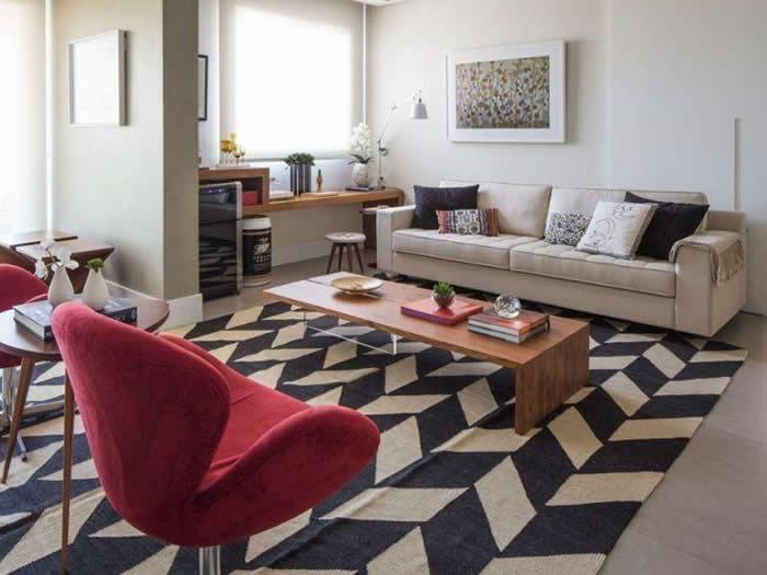 tapete para sala de estar padrao minimalista