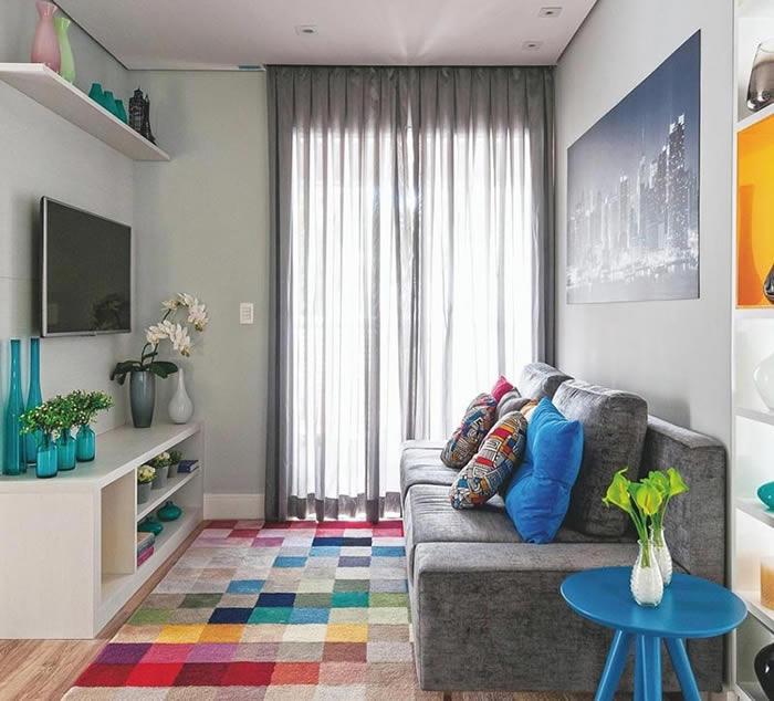 tapete sala de estar cores
