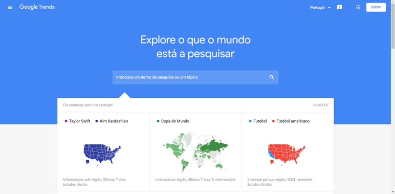 Designer Finalmente uma lista de sites Google Trends