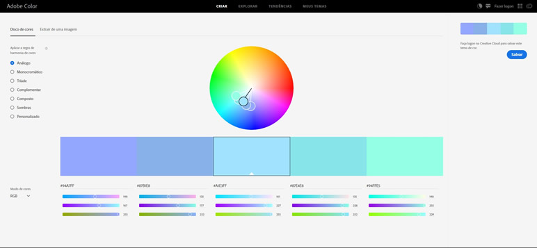 Designer Finalmente uma lista de sites adobe color