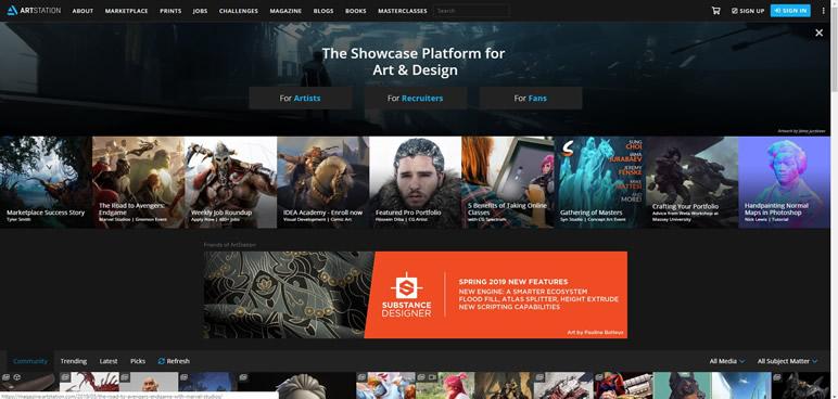 Designer Finalmente uma lista de sites artstation