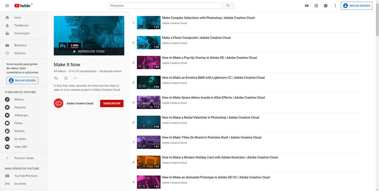 Designer Finalmente uma lista de sites playlist adobe youtube
