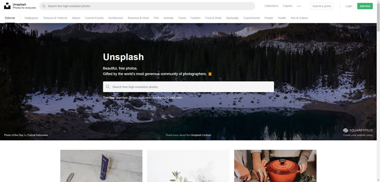 Designer Finalmente uma lista de sites unsplash